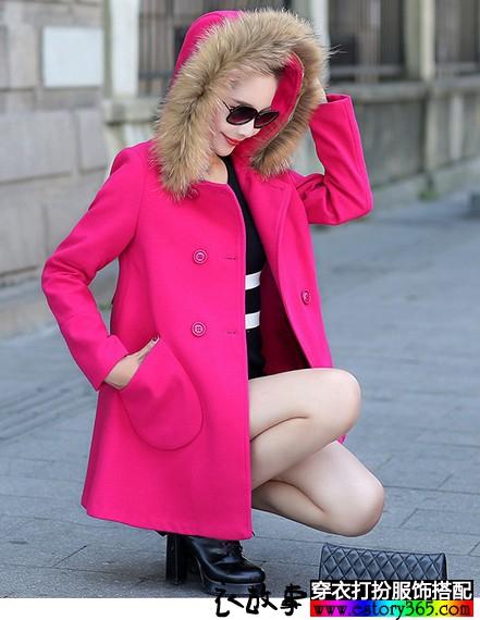 毛领女士毛呢大衣
