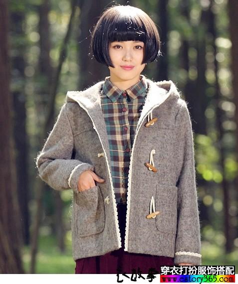 森女系短款毛呢外套