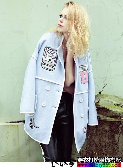 糖果色宽松廓型大衣