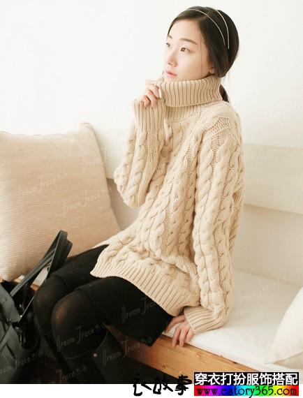 加厚宽松麻花纹毛衣