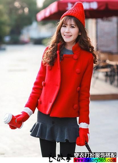 红色小香风毛呢外套