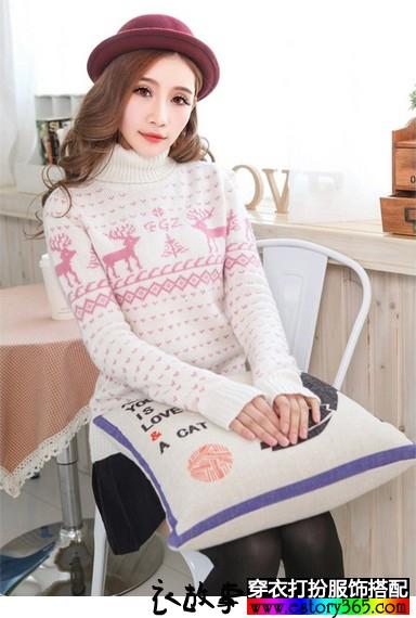 雪花高领少女羊毛衫