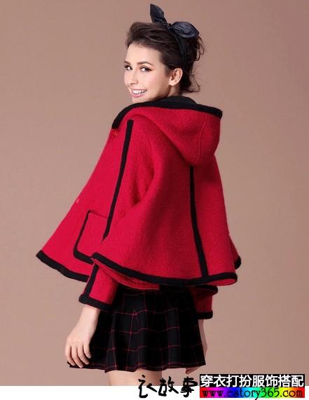 红色羊毛呢短斗篷外套