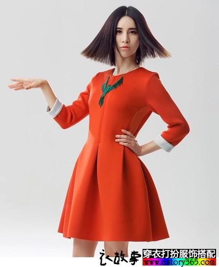 七分袖中长款蓬蓬裙