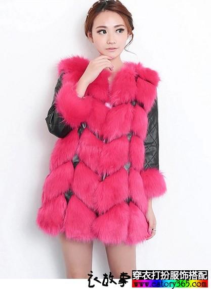 仿狐狸毛中长修身外套
