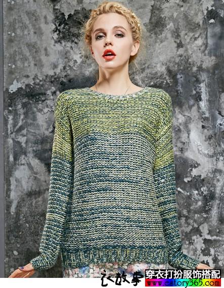 复古彩色纱线毛衣