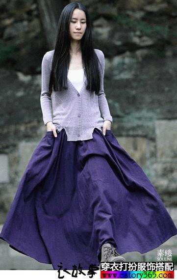 文艺棉麻半身长裙