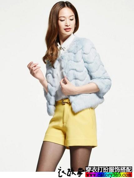 獭兔毛七分袖短外套