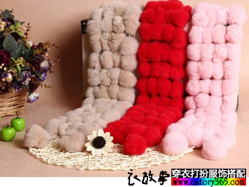 獭兔毛皮草围巾