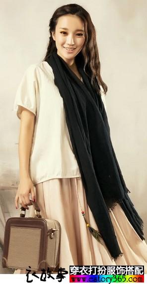 纯棉墨绿色围巾