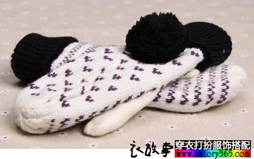 毛线编织户外保暖手套