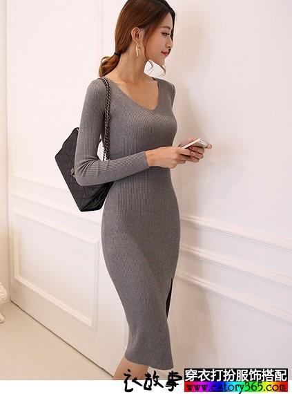 加厚V领包臀开叉毛织裙