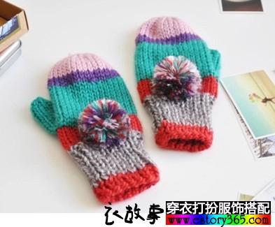 保暖加绒羊毛毛线手套
