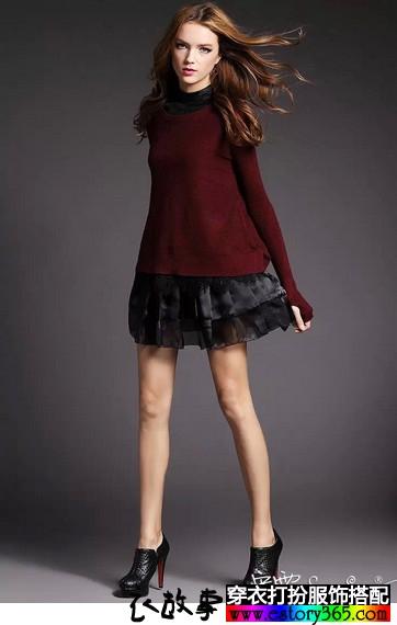 羊毛针织衫欧根纱两件套长袖连衣裙