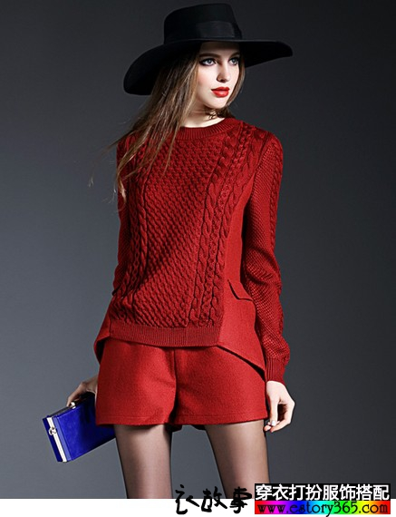 麻花针织拼接羊毛尼套装