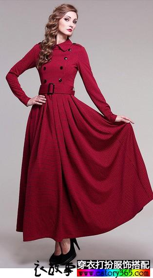 加绒加厚格子连衣裙