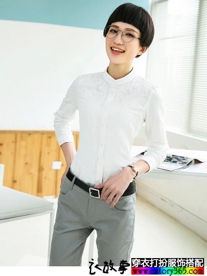 棉麻刺绣立领衬衫