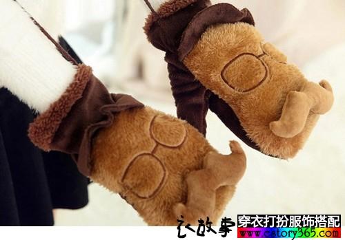 保暖全指双层毛绒手套