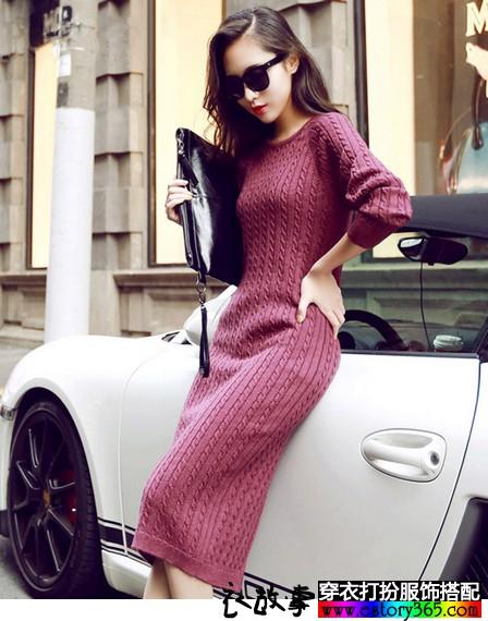 复古麻花纹修身针织长裙