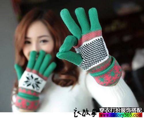 加厚雪花分指手套