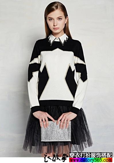 几何图案衬衫毛衣两件套