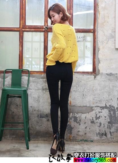 高腰弹力小脚铅笔牛仔裤