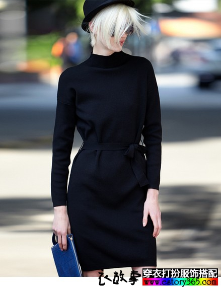 立领针织系带收腰连衣裙