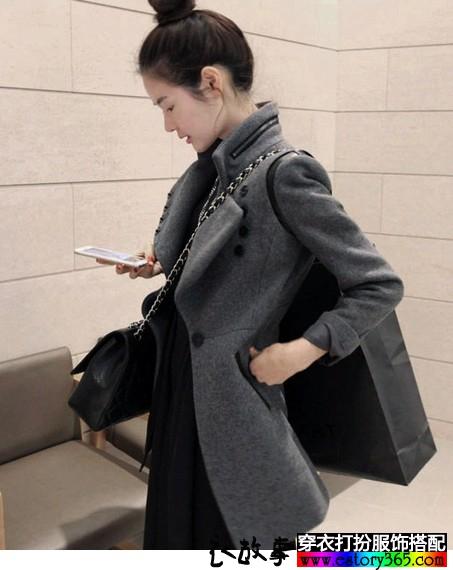 一粒扣休闲毛呢大衣
