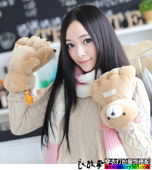 超萌熊爪毛绒手套