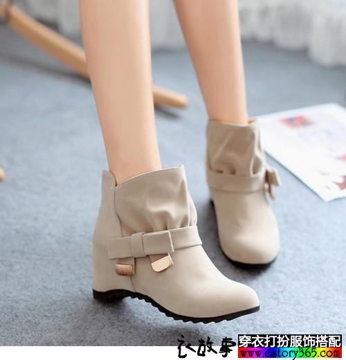 短款内增高休闲靴