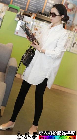 宽松中长纯棉白衬衫
