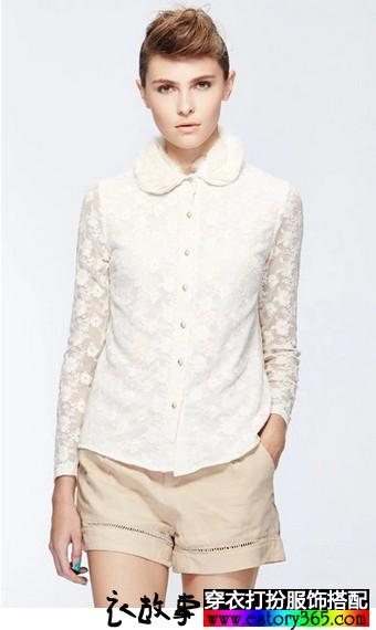 百搭修身米色蕾丝衬衫