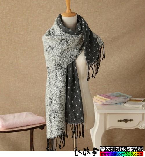 蕾丝提花波点针织围巾