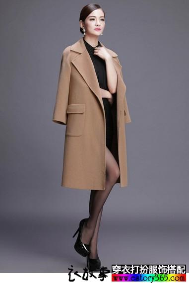 翻领纯色长款毛呢大衣