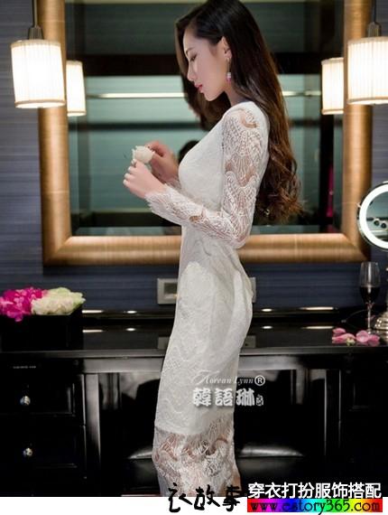 蕾丝性感长袖连衣裙