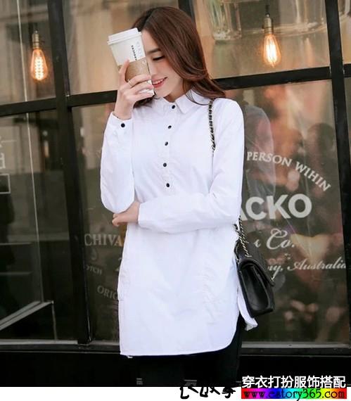 中长加厚纯棉白衬衫