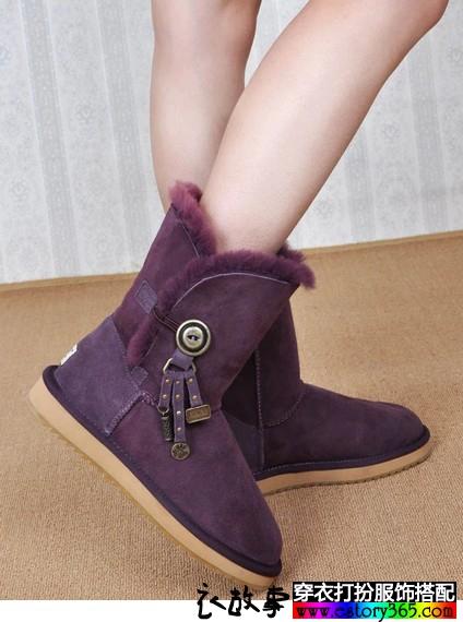 防滑真皮中筒靴