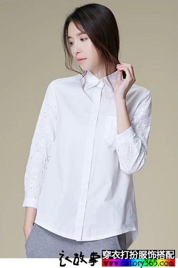 自由自在的素净棉白衬衫_白衬衣怎么搭配
