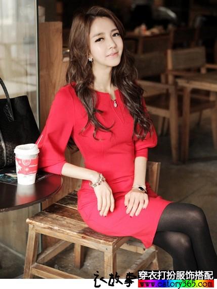 小香风加厚红色连衣裙