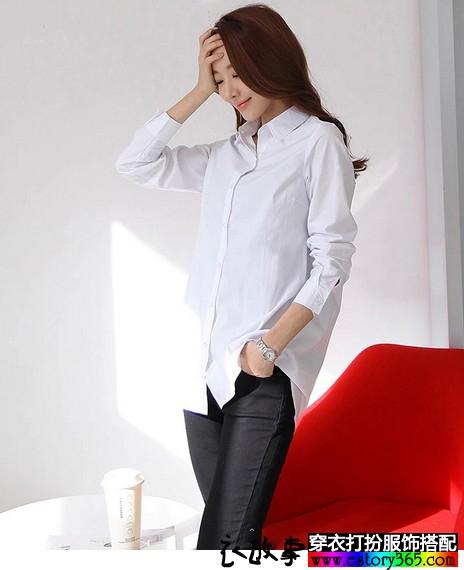 宽松纯棉职业白衬衫