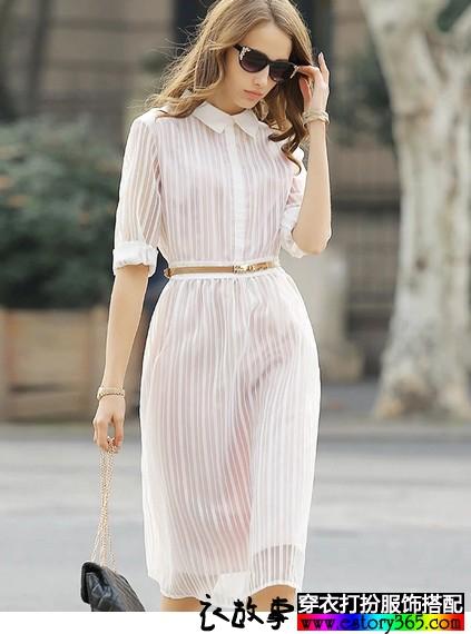 条纹头饰衬衫领长裙