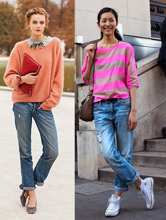 高个子女生怎么穿衣搭配好看:宽松牛仔裤