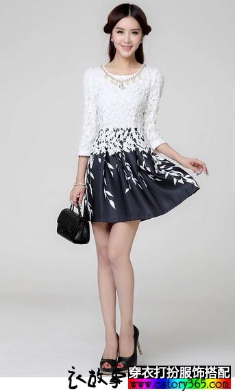 印花雪纺假两件连衣裙