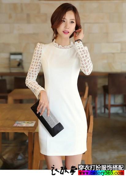 长袖修身气质连衣裙