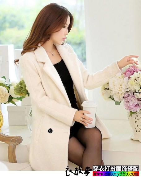 韩版显瘦羊毛呢外套