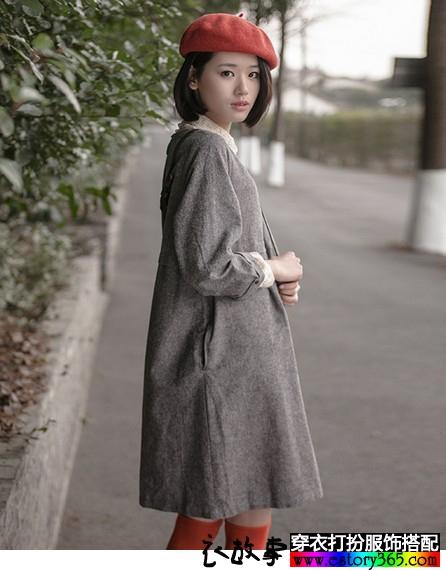 森女系长袖棉麻连衣裙