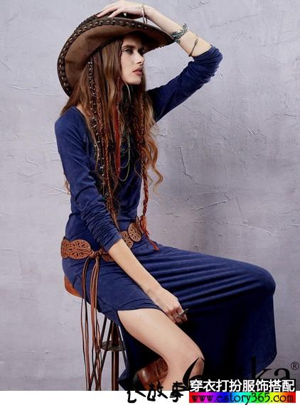 水洗修身波西米亚长裙