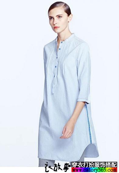 竖条纹七分袖衬衫裙