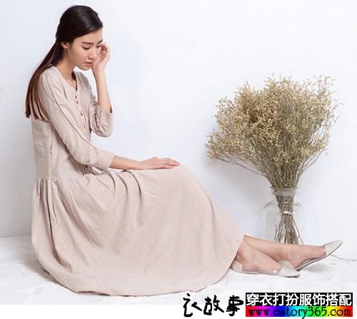长袖棉麻连衣裙