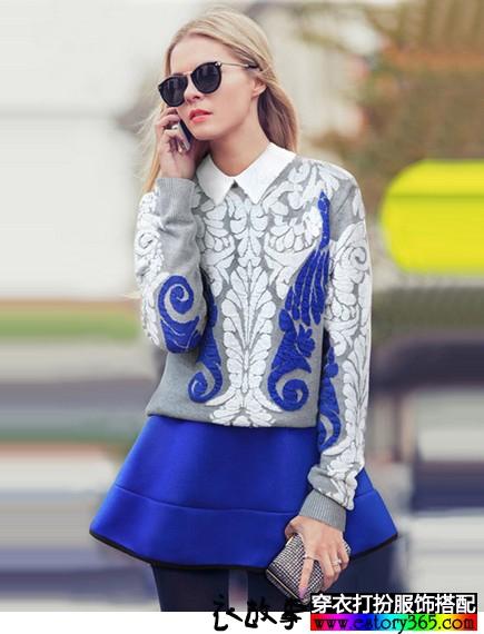 复古套头毛衣半身裙